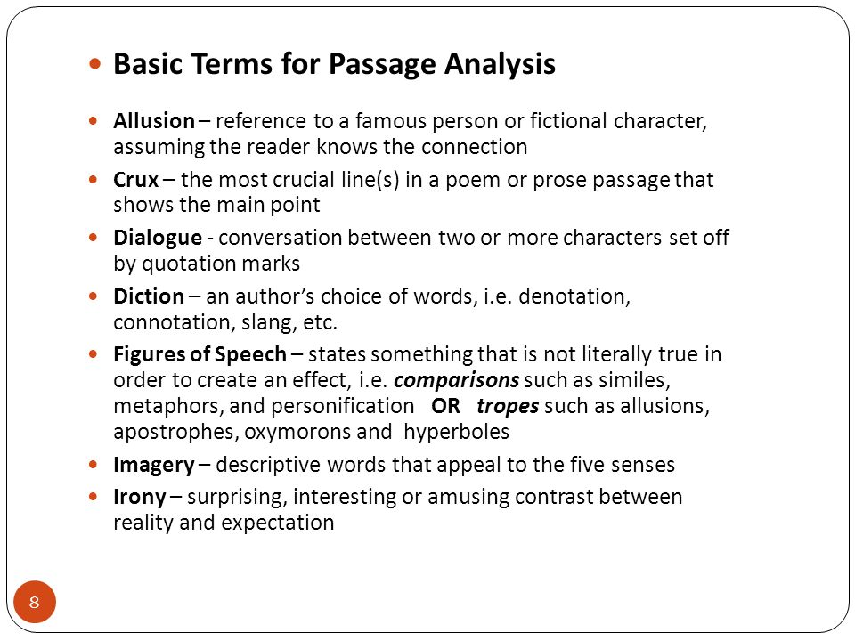 Basic Terms for Passage Analysis