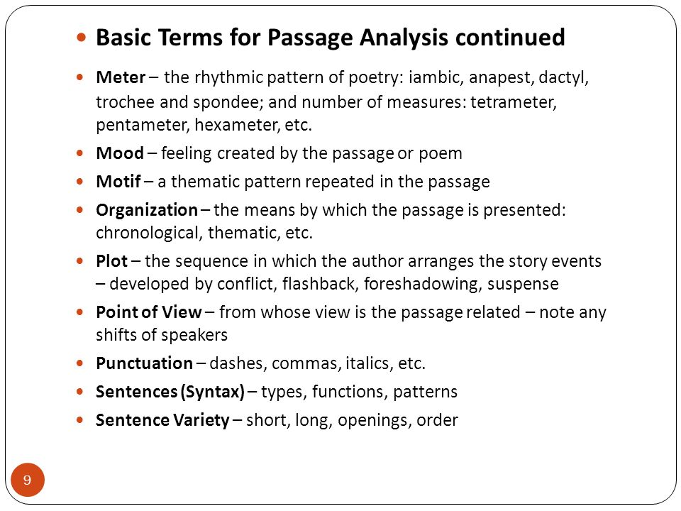 Basic Terms for Passage Analysis continued