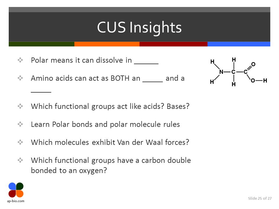 CUS Insights Polar means it can dissolve in ______