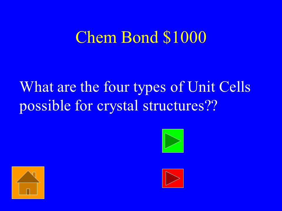 Chem Bond $1000 What are the four types of Unit Cells possible for crystal structures
