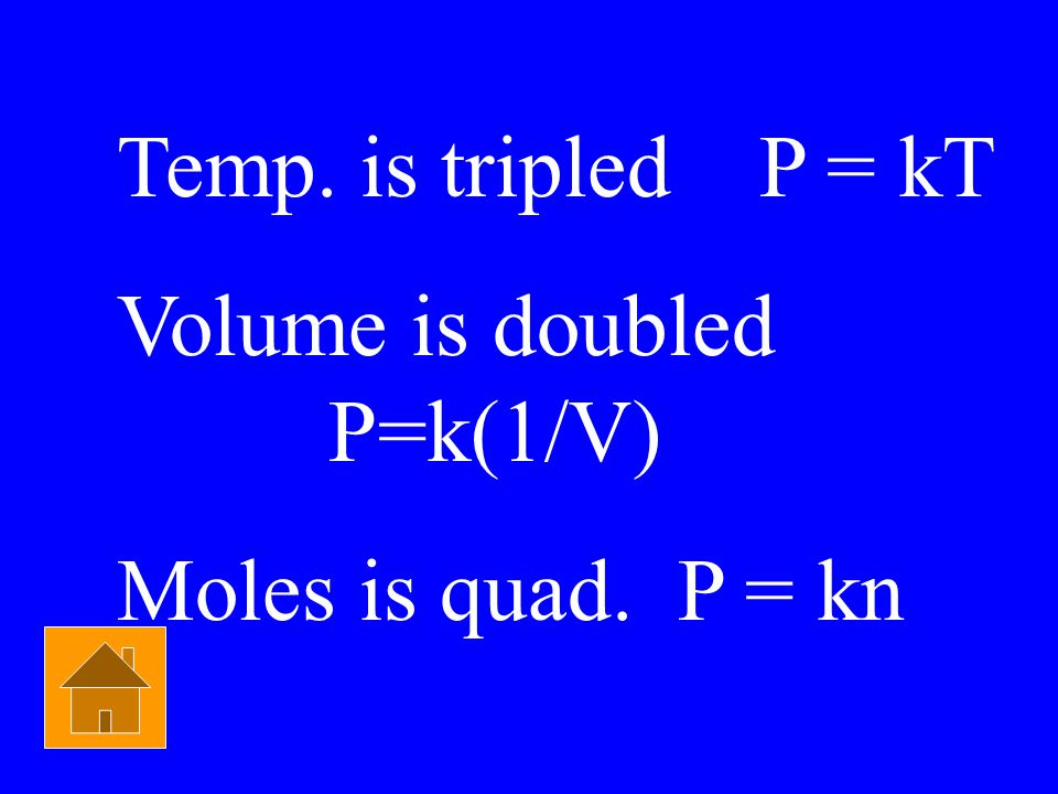Temp. is tripled P = kT Volume is doubled P=k(1/V) Moles is quad. P = kn