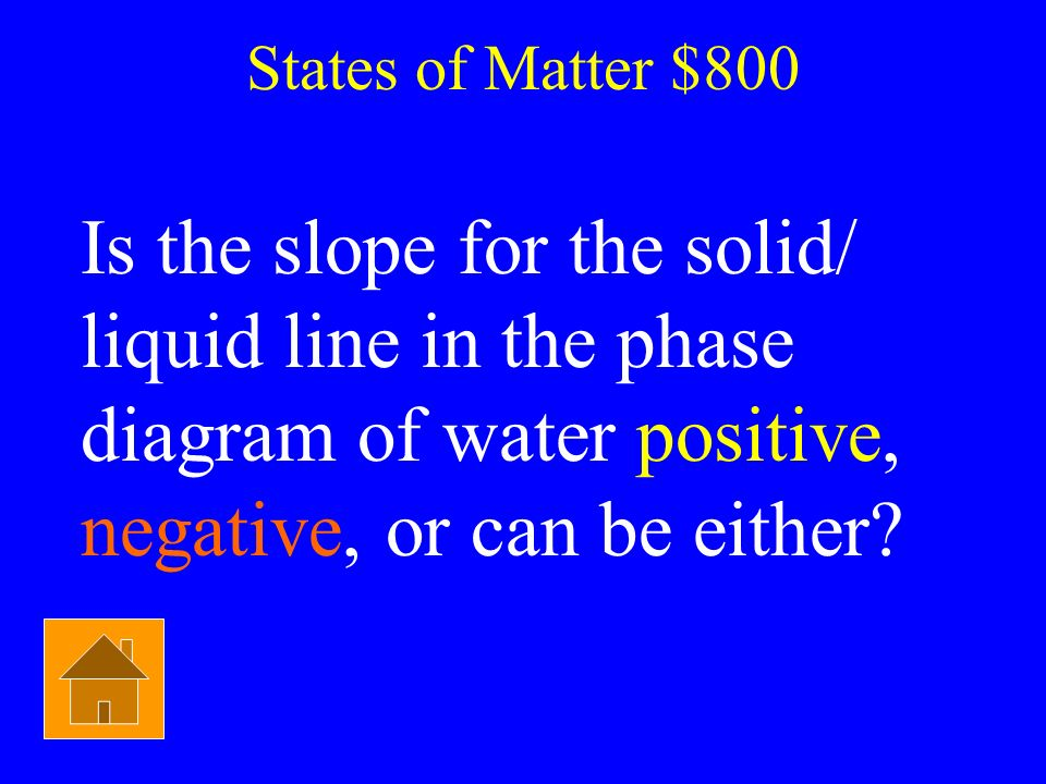 States of Matter $800 Is the slope for the solid/ liquid line in the phase diagram of water positive, negative, or can be either