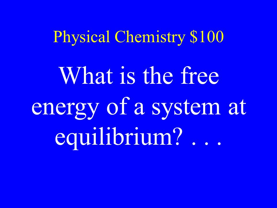 What is the free energy of a system at equilibrium . . .