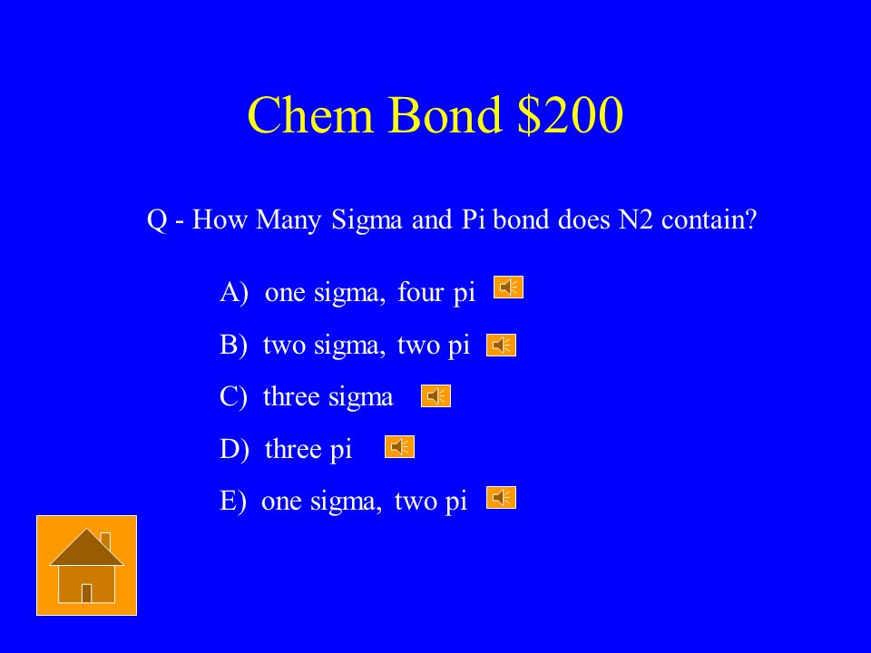 Chem Bond $200 Q - How Many Sigma and Pi bond does N2 contain