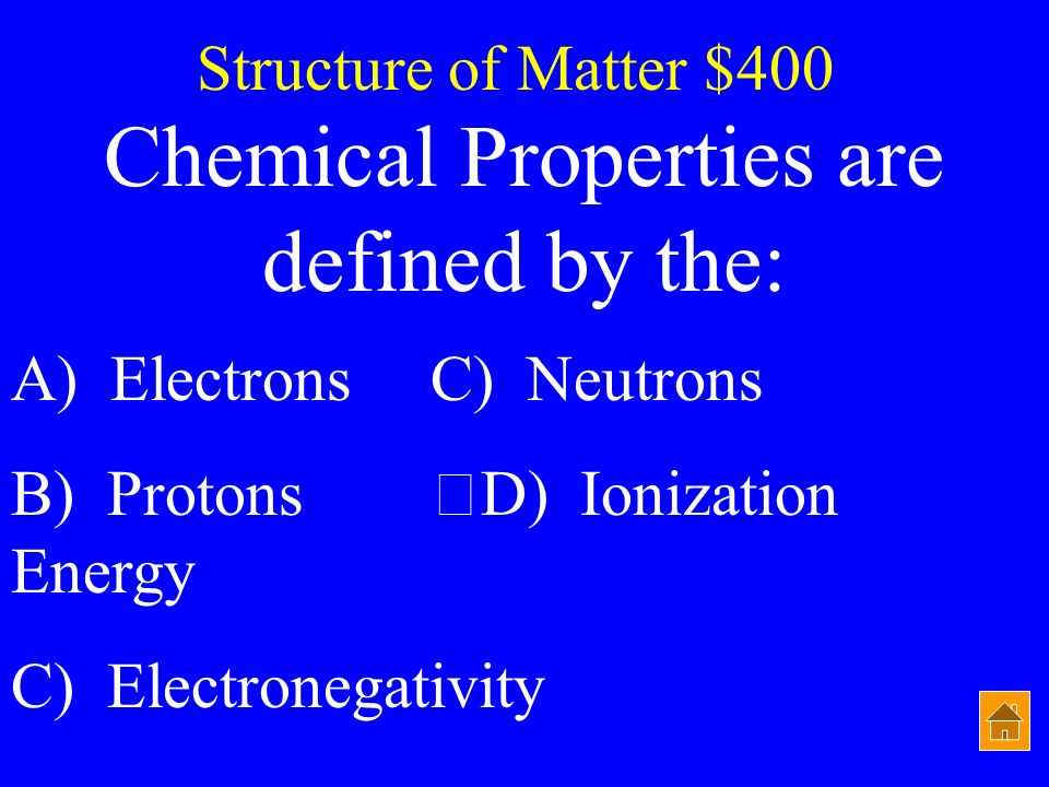 Chemical Properties are defined by the: