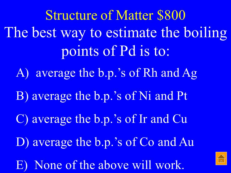 The best way to estimate the boiling points of Pd is to: