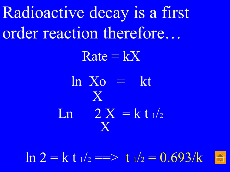 Radioactive decay is a first order reaction therefore…