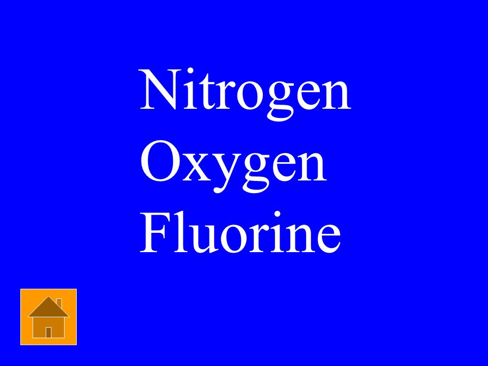 Nitrogen Oxygen Fluorine