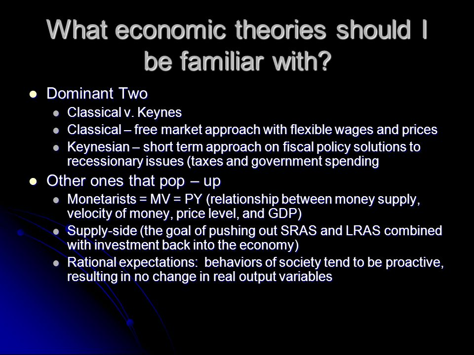 What economic theories should I be familiar with