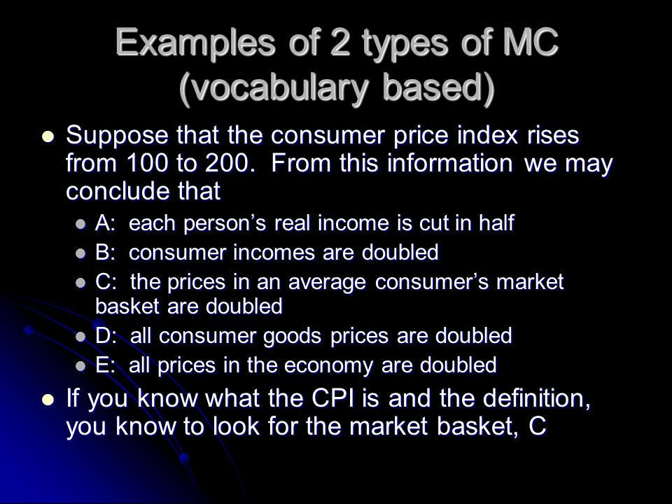Examples of 2 types of MC (vocabulary based)