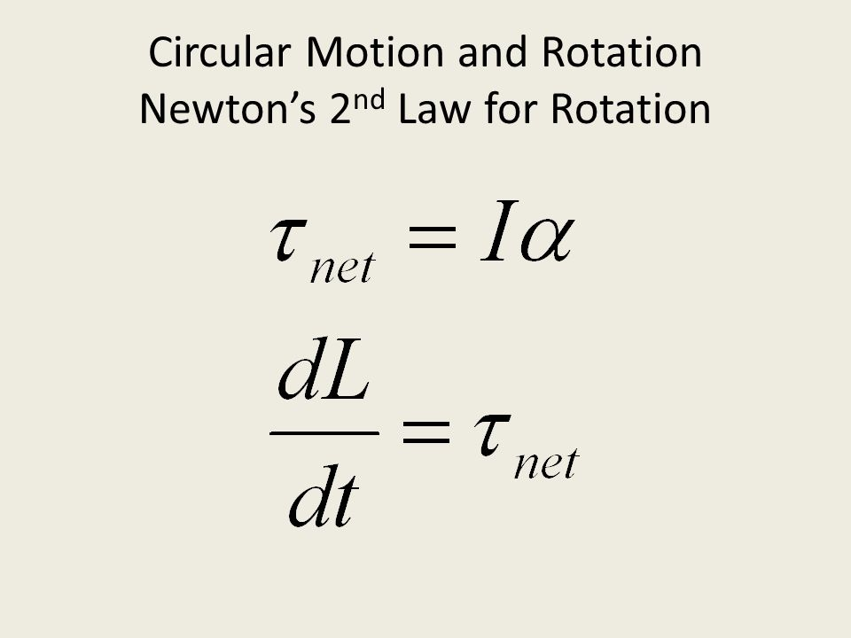 Circular Motion and Rotation Newton's 2nd Law for Rotation