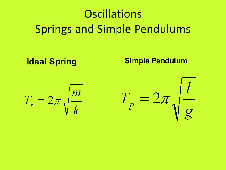Oscillations Springs and Simple Pendulums
