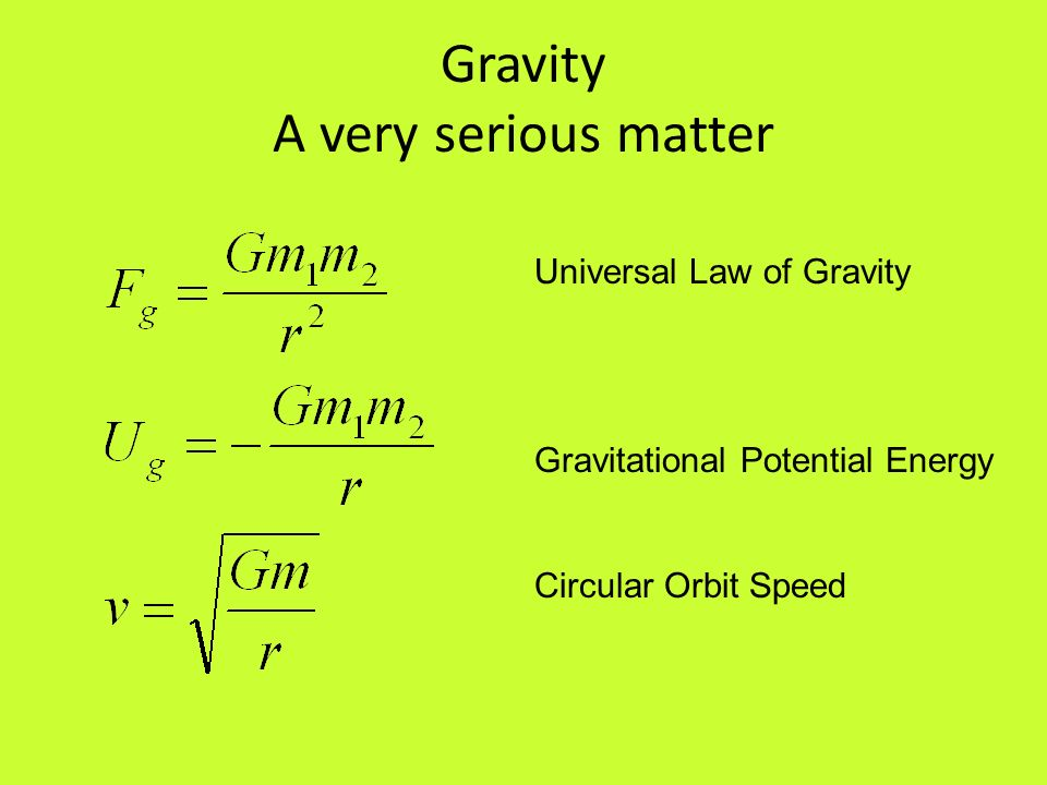 Gravity A very serious matter
