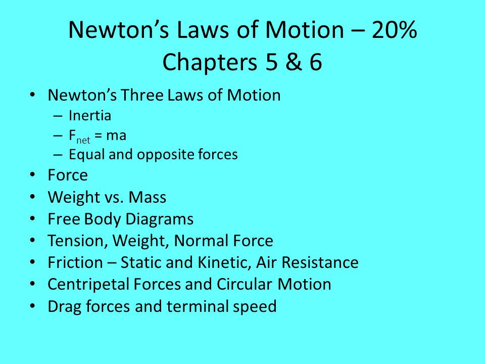 Newton's Laws of Motion – 20% Chapters 5 & 6