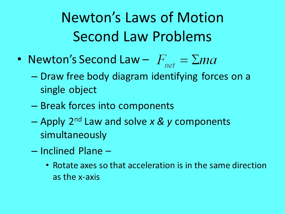 Newton's Laws of Motion Second Law Problems