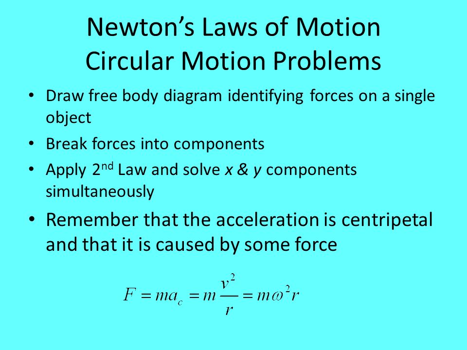 Newton's Laws of Motion Circular Motion Problems