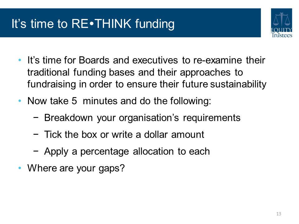 It's time to RETHINK funding