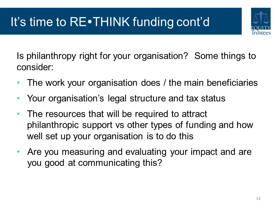 It's time to RETHINK funding cont'd