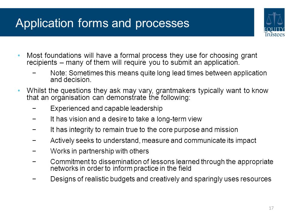 Application forms and processes