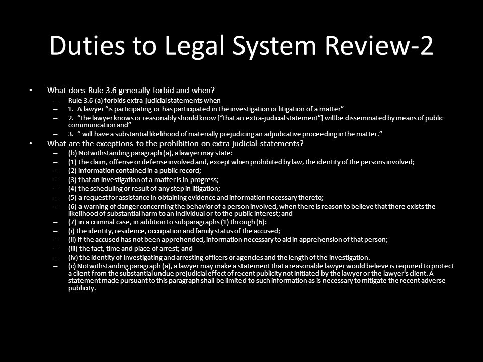 Duties to Legal System Review-2