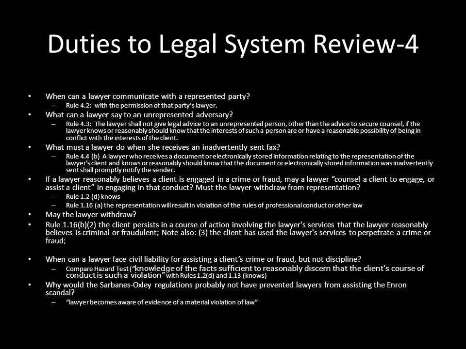 Duties to Legal System Review-4