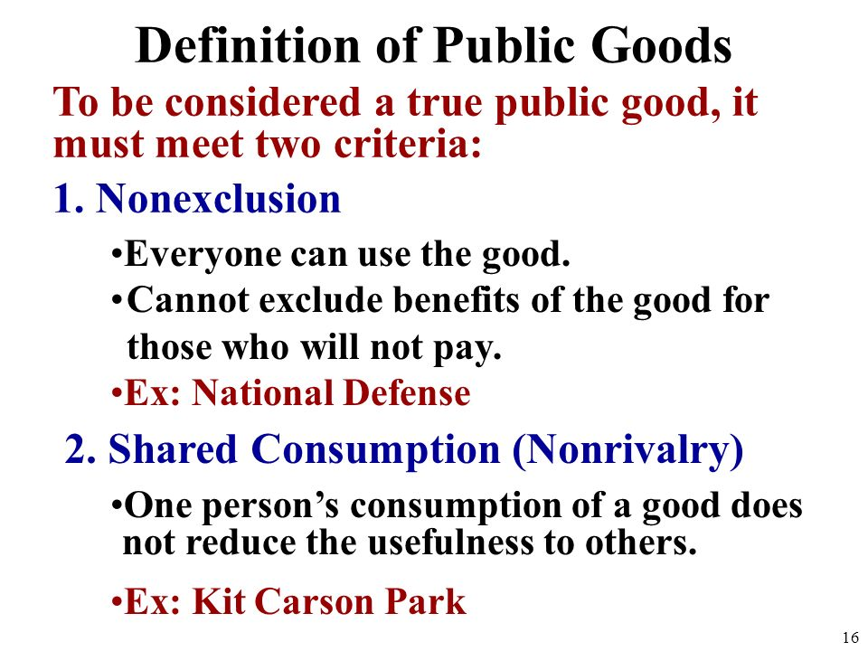 Definition of Public Goods