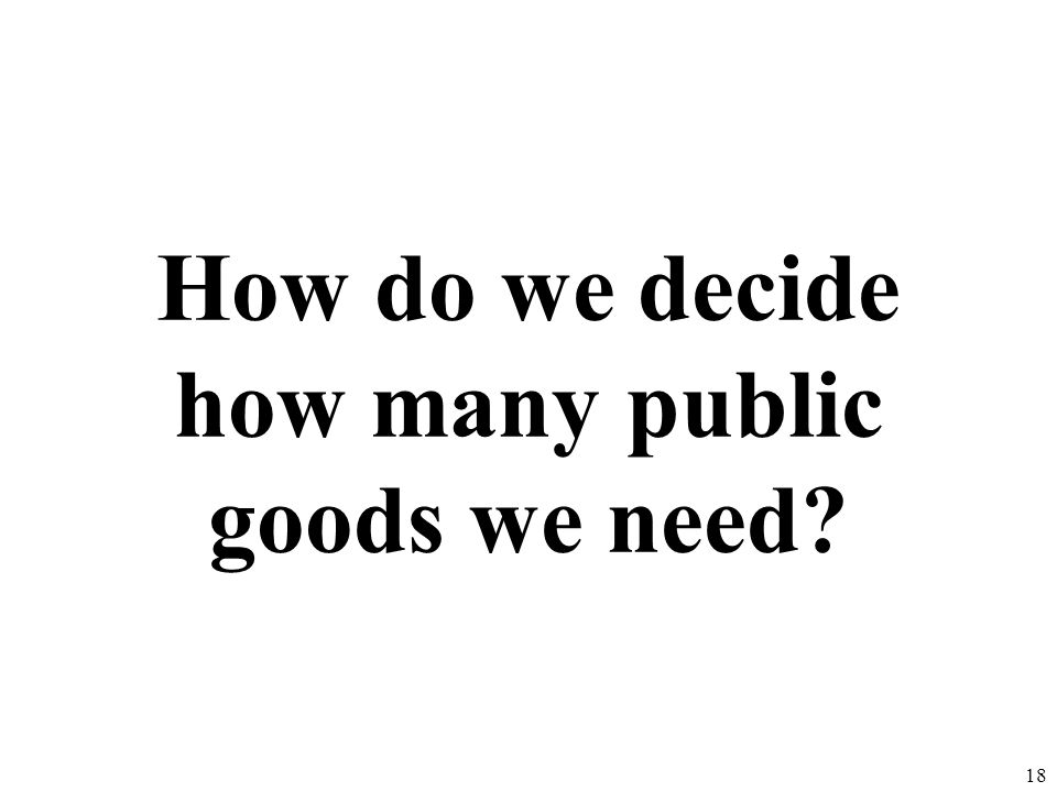 How do we decide how many public goods we need