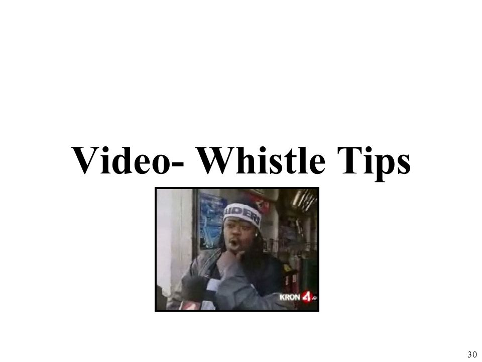 Video- Whistle Tips Smog Traffic 30