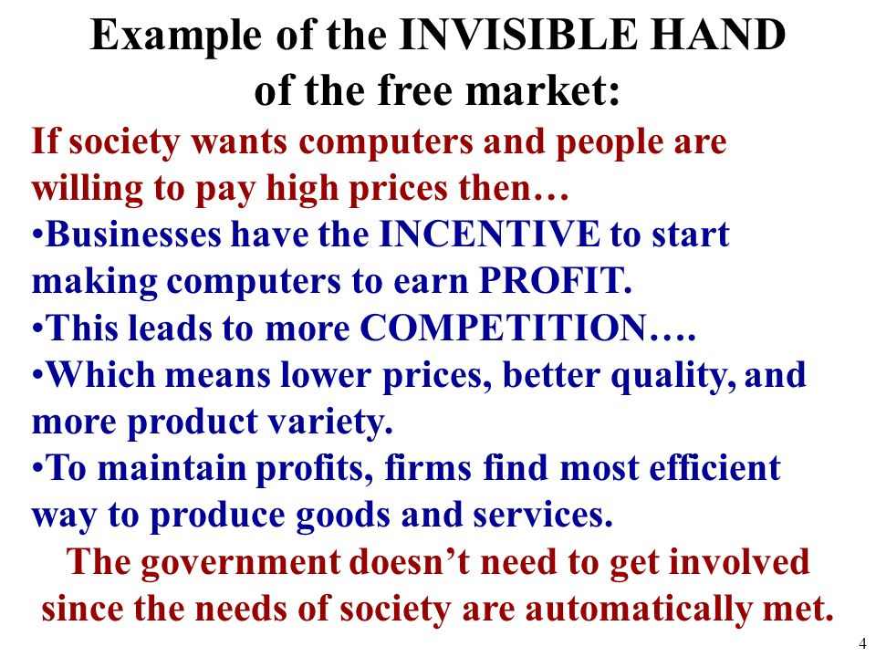 Example of the INVISIBLE HAND