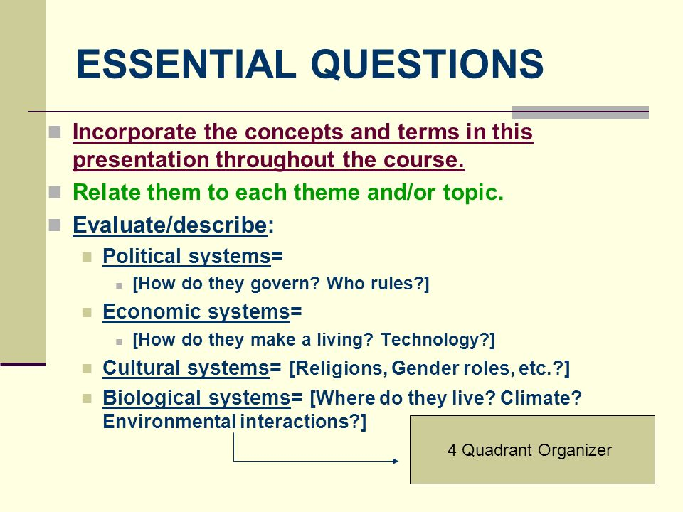 ESSENTIAL QUESTIONS Incorporate the concepts and terms in this presentation throughout the course. Relate them to each theme and/or topic.