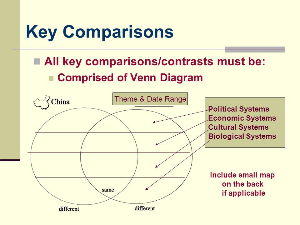Key Comparisons All key comparisons/contrasts must be: