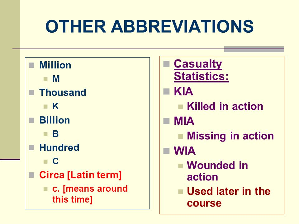 OTHER ABBREVIATIONS Casualty Statistics: KIA MIA WIA Killed in action