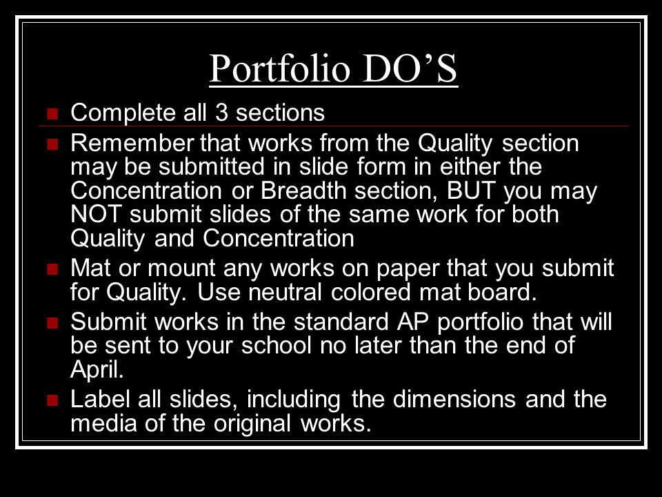 Portfolio DO'S Complete all 3 sections