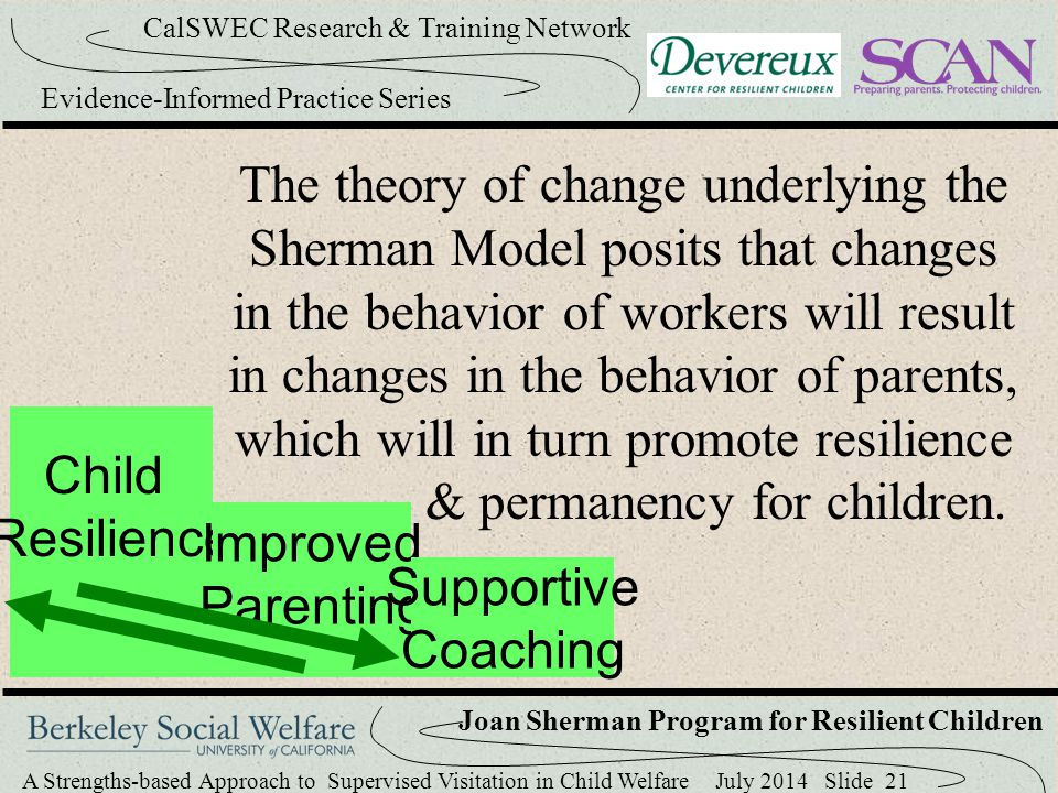 The theory of change underlying the Sherman Model posits that changes in the behavior of workers will result in changes in the behavior of parents, which will in turn promote resilience & permanency for children.