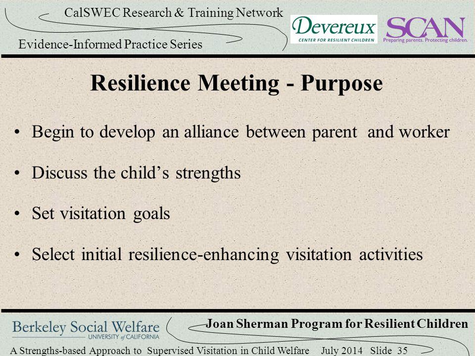 Resilience Meeting - Purpose