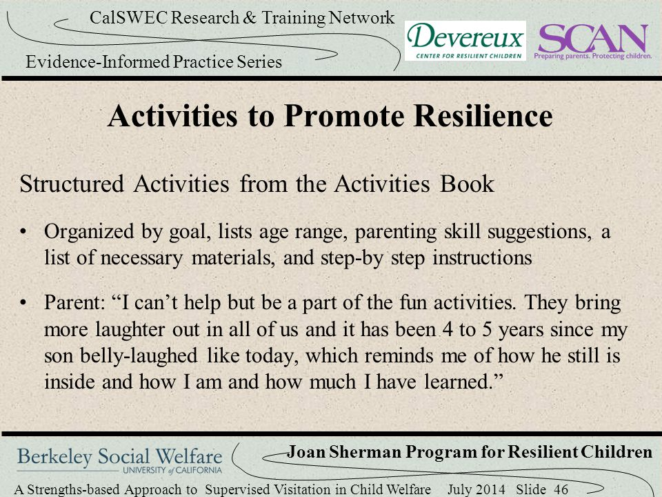 Activities to Promote Resilience