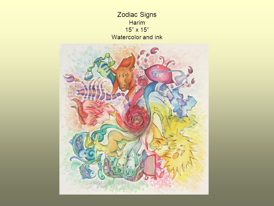 Zodiac Signs Harim 15 x 15 Watercolor and ink