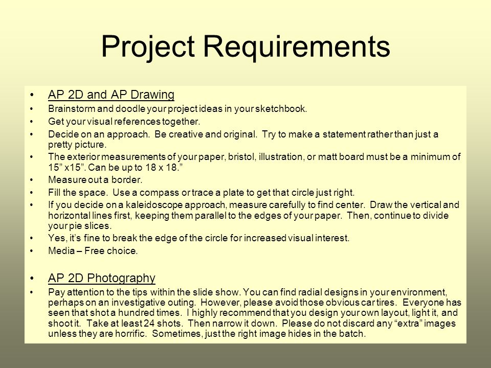 Project Requirements AP 2D and AP Drawing AP 2D Photography