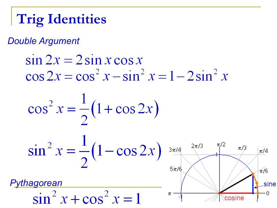 Trig Identities Double Argument Pythagorean sine cosine