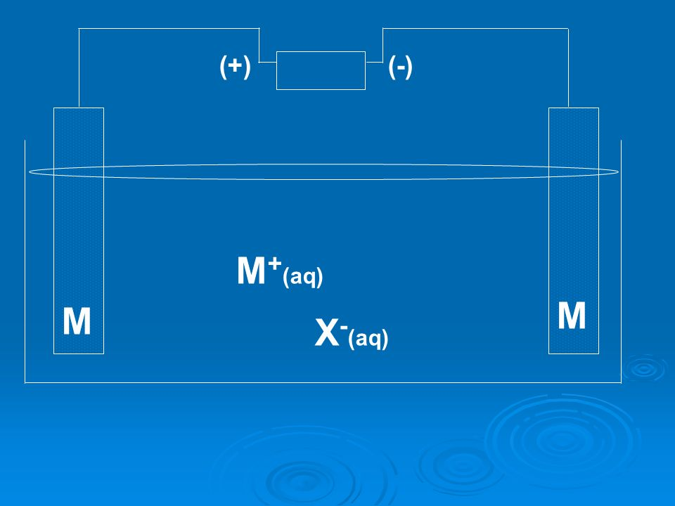(+) (-) M+(aq) M M X-(aq)