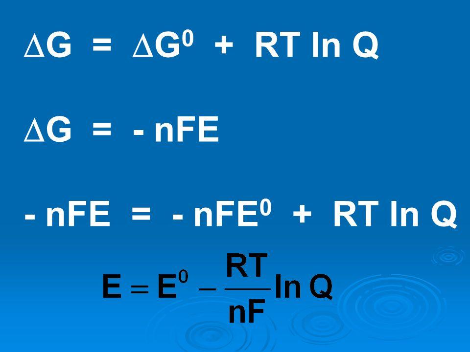 G = G0 + RT ln Q G = - nFE - nFE = - nFE0 + RT ln Q