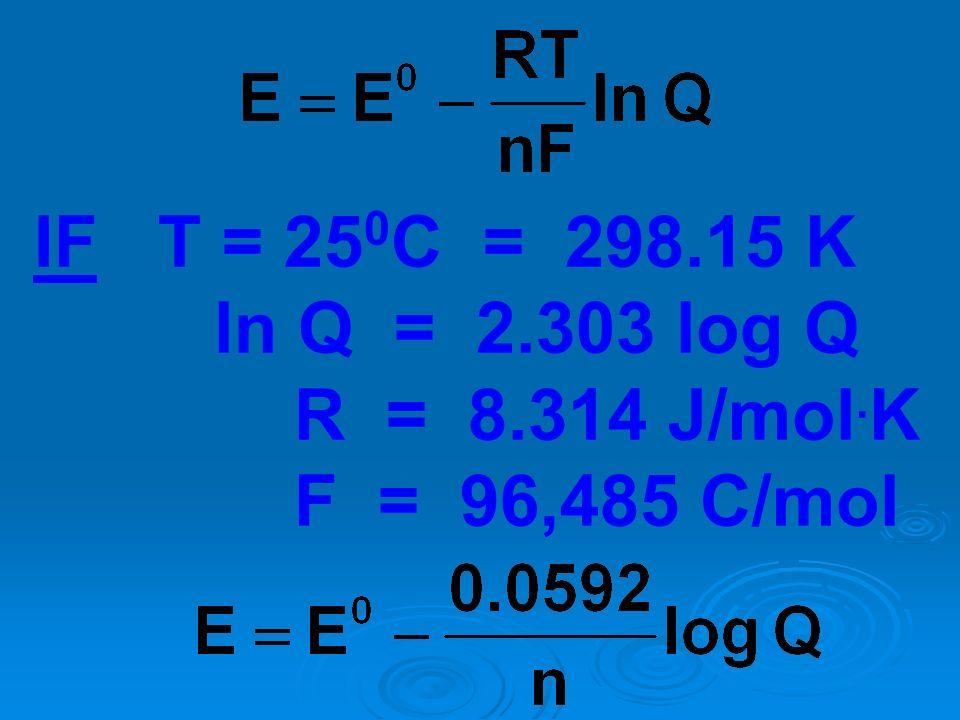 IF T = 250C = 298.15 K ln Q = 2.303 log Q R = 8.314 J/mol.K F = 96,485 C/mol