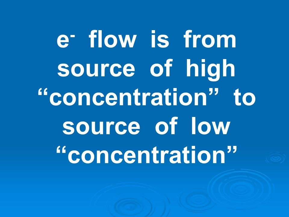 e- flow is from source of high concentration to source of low concentration
