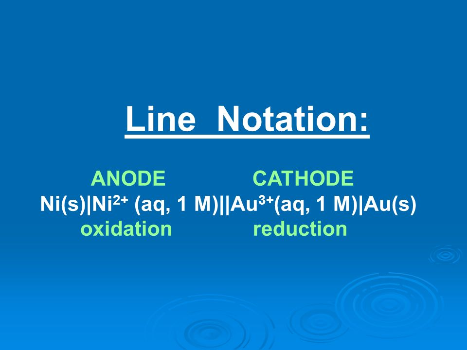 Line Notation: ANODE CATHODE Ni(s) Ni2+ (aq, 1 M)  Au3+(aq, 1 M) Au(s)