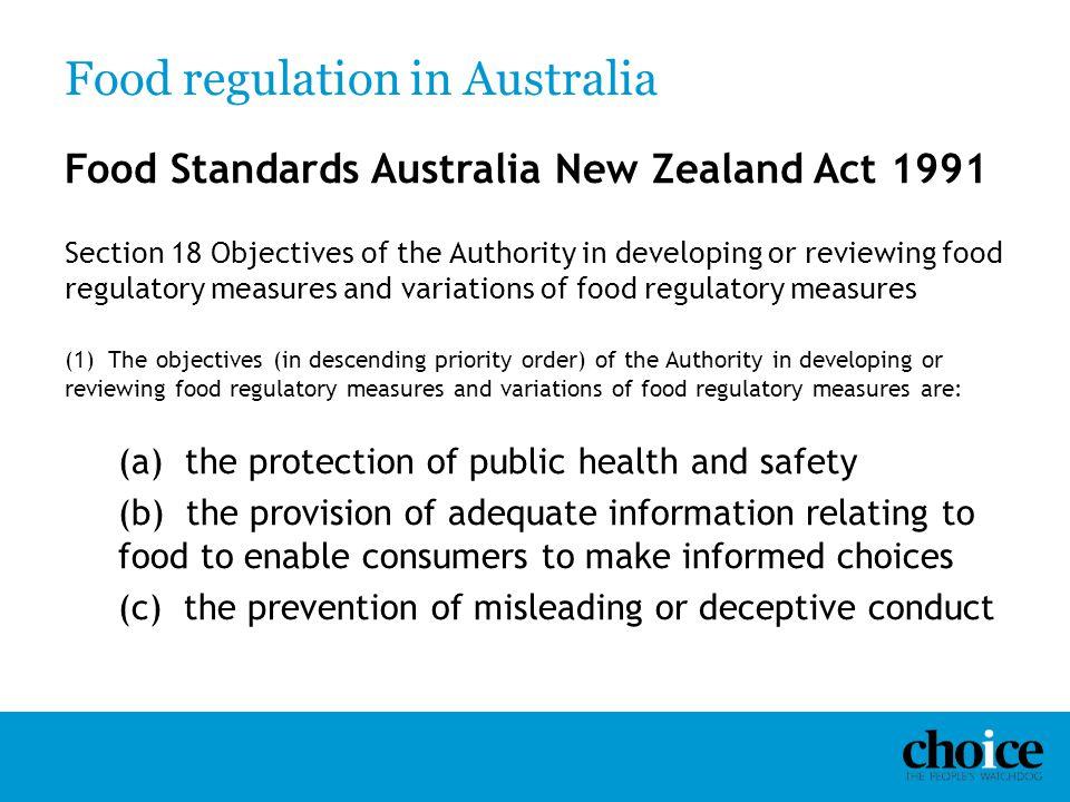 Food regulation in Australia