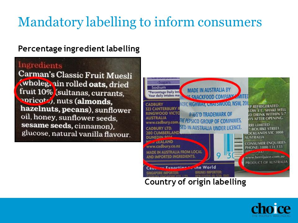 Mandatory labelling to inform consumers