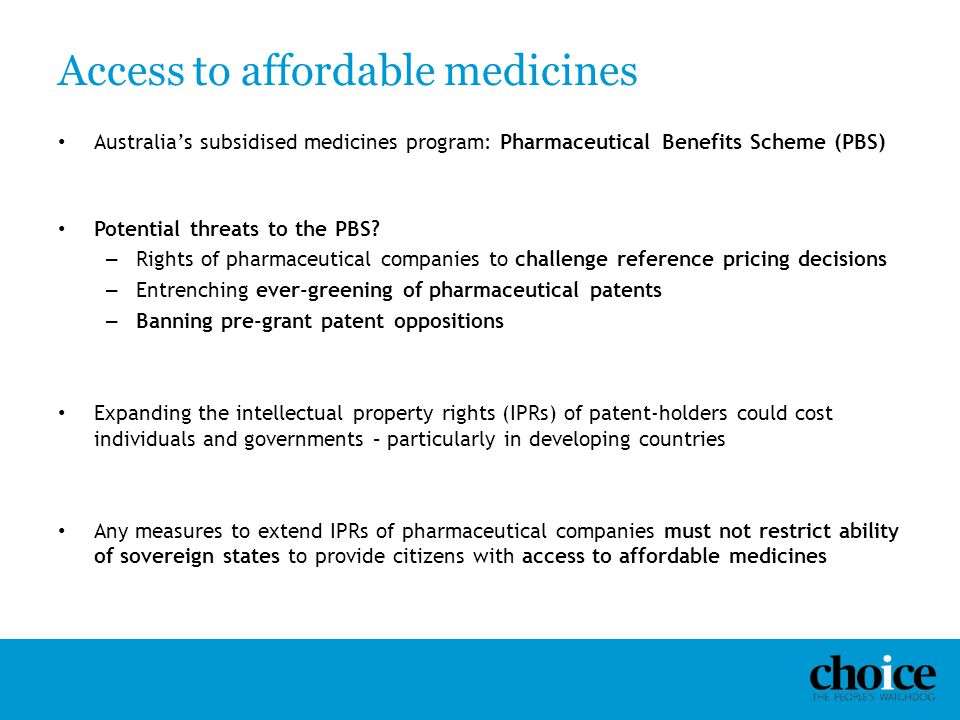 Access to affordable medicines
