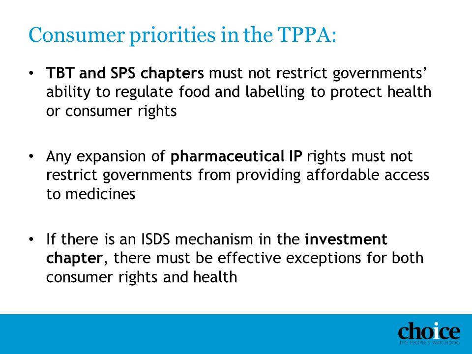 Consumer priorities in the TPPA: