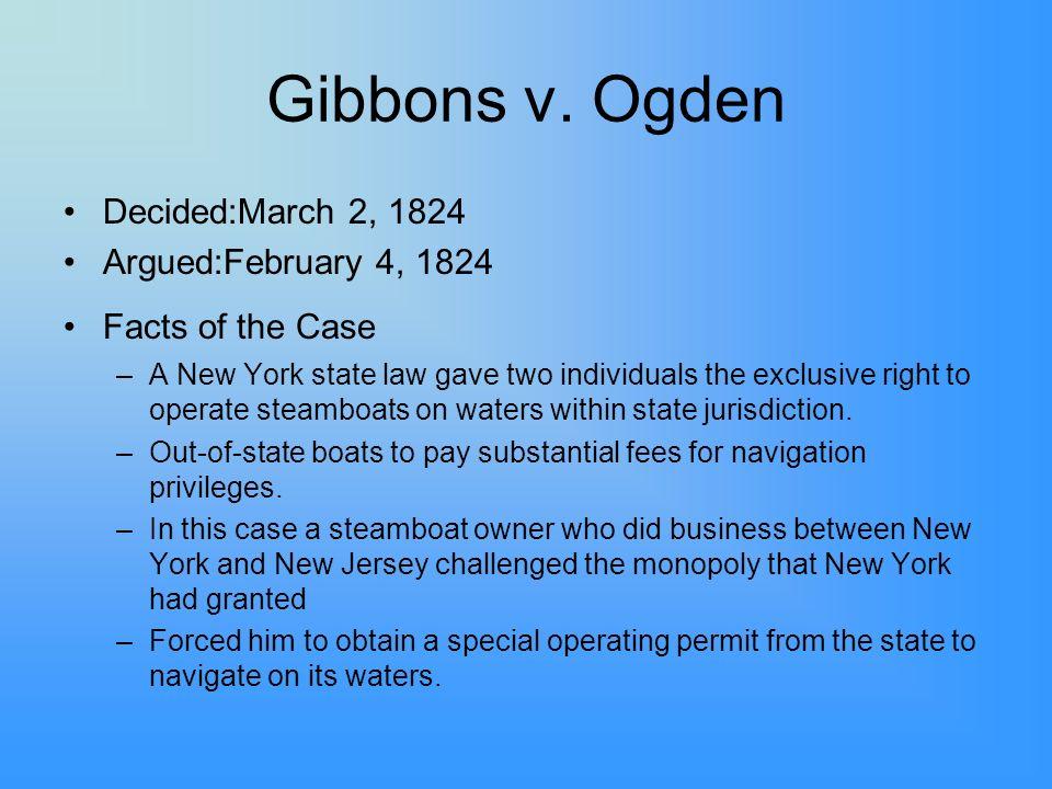 Gibbons v. Ogden Decided:March 2, 1824 Argued:February 4, 1824