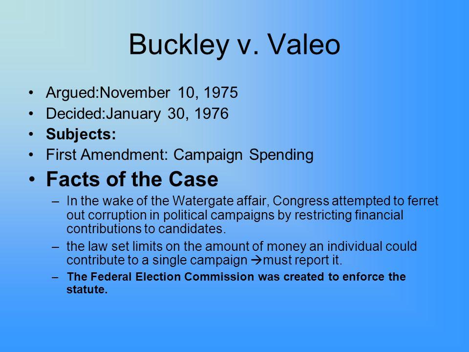 Buckley v. Valeo Facts of the Case Argued:November 10, 1975